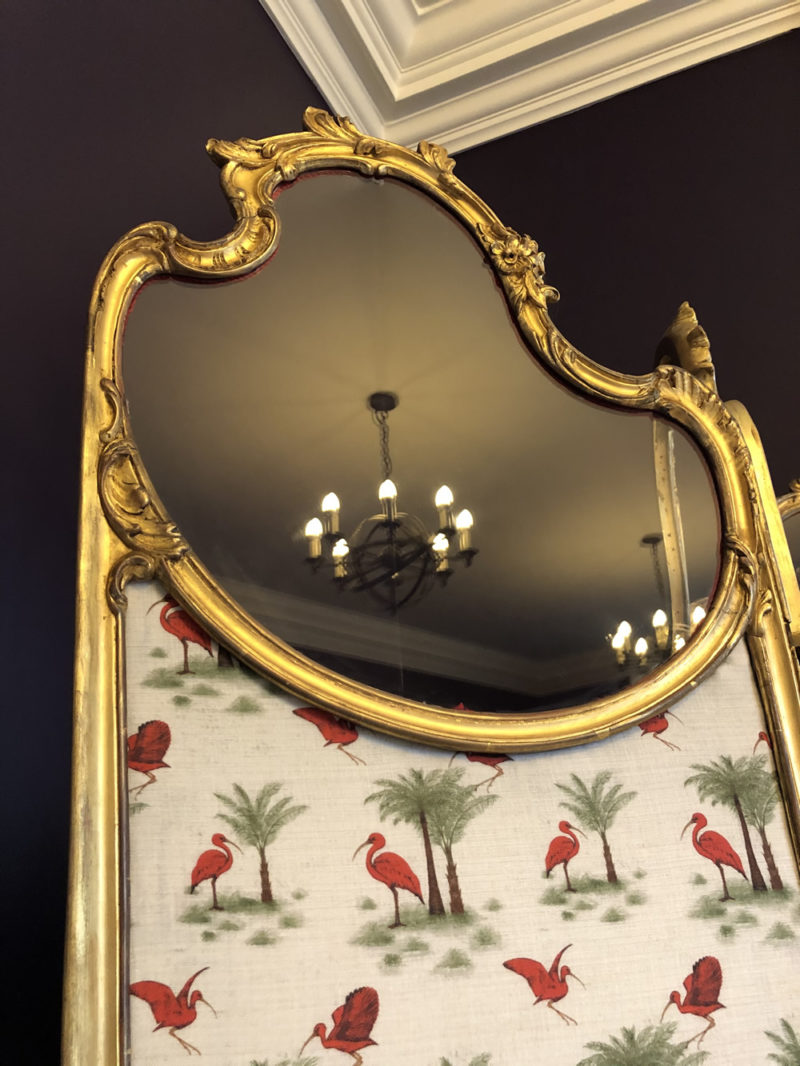 Art Noveau Screen Gilt and Fabric Mirror