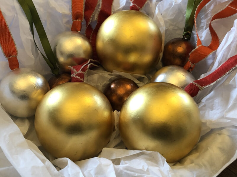 Set of 3 hand finished baubles