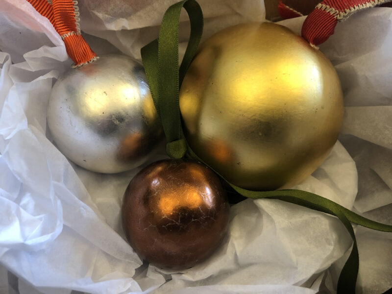Limited Edition Water Gilded Christmas Bauble set of 3 hand finished baubles